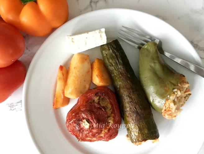 Vegan Yemista. Greek stuffed vegetables