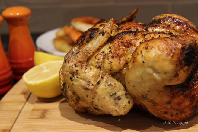 Greek roast chicken with potatoes recipe