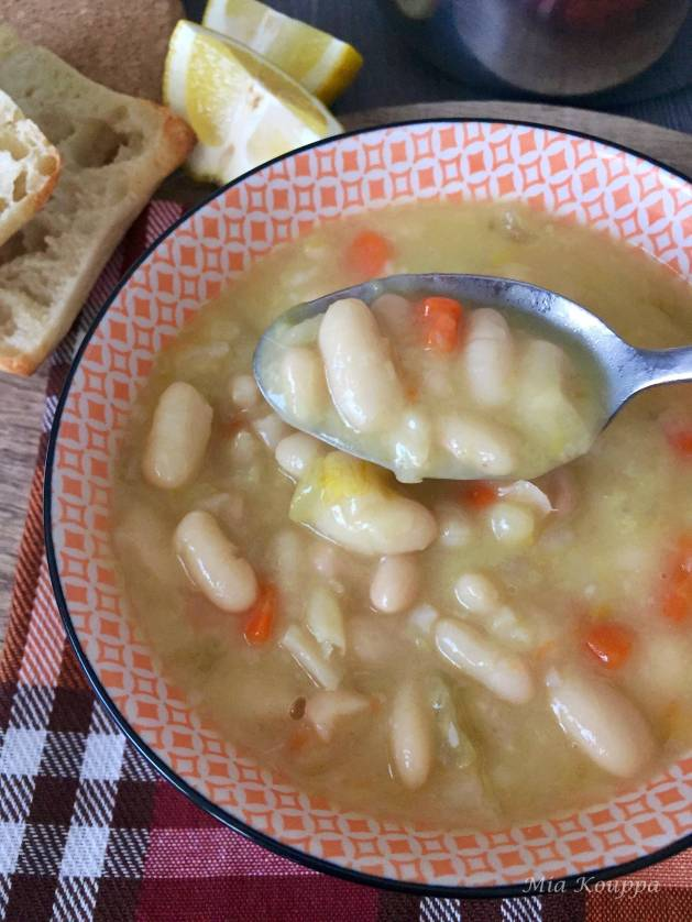 Fasolatha, a bean soup, flavoured with fresh lemon juice