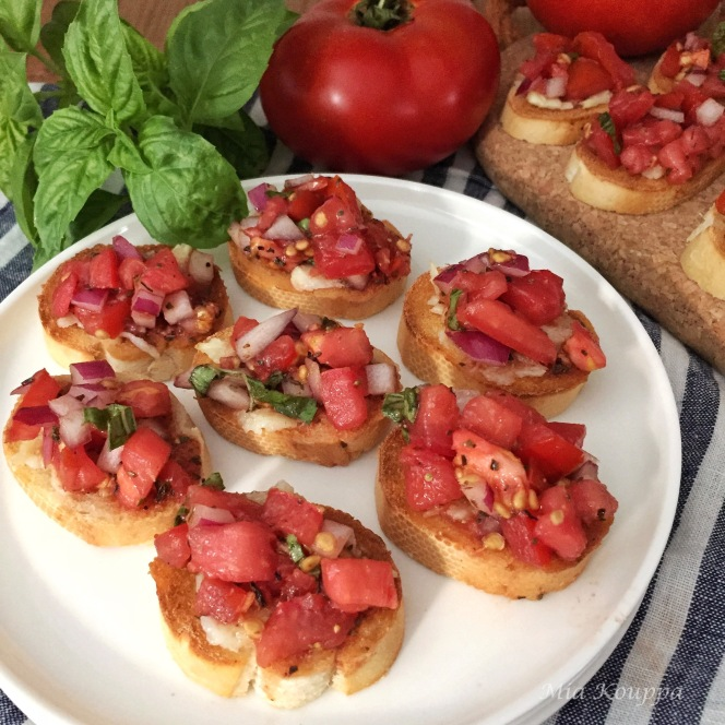 Brushetta, a simple, easy, yet delicious appetizer