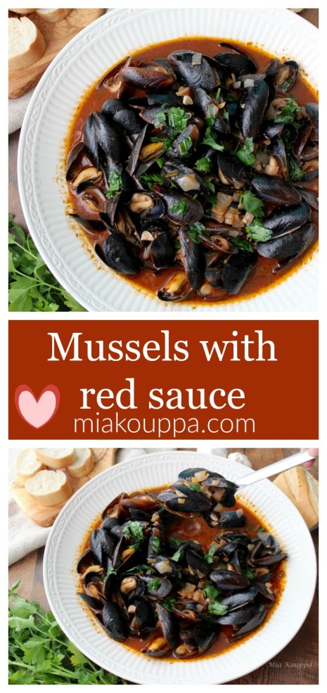 Mussels with red sauce (Μύδια με κόκκινη σάλτσα)