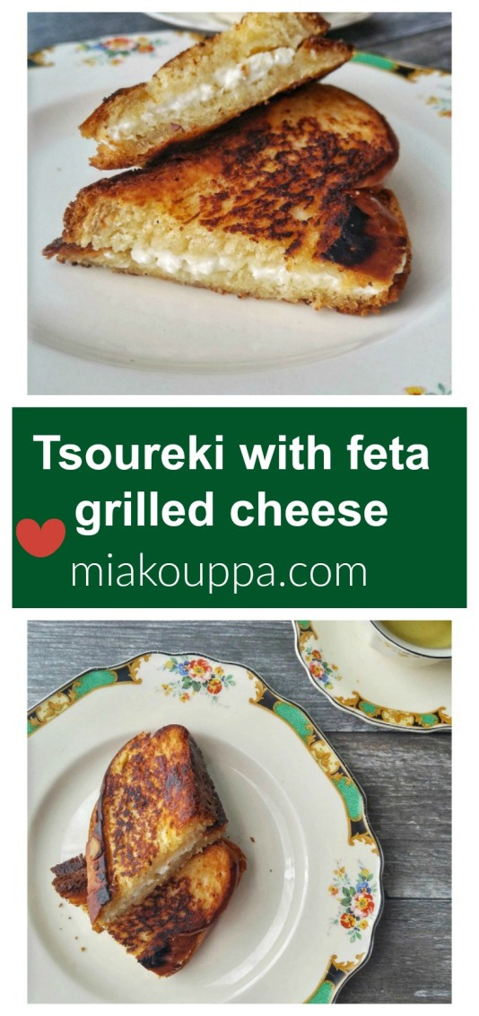 Tsoureki and feta grilled cheese
