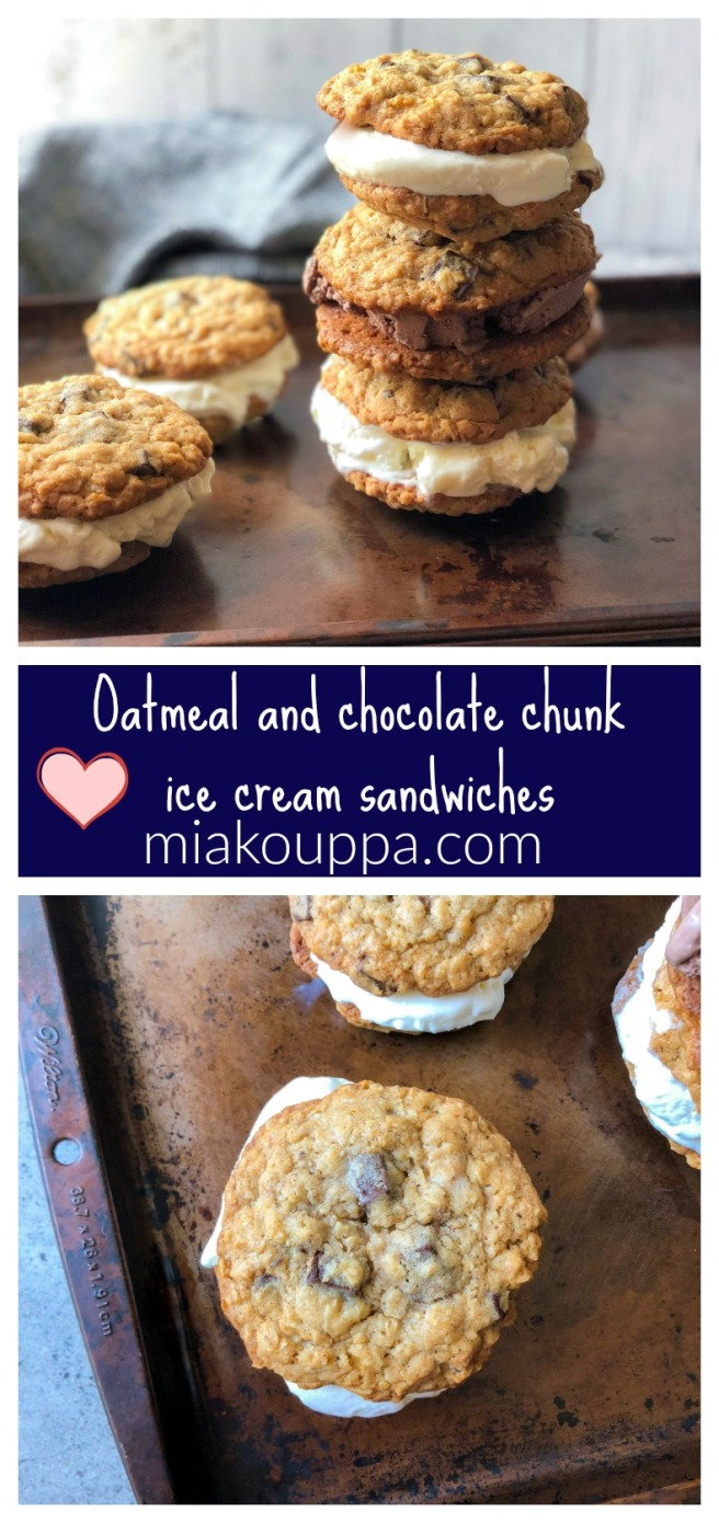 Oatmeal and chocolate chunk ice cream sandwiches
