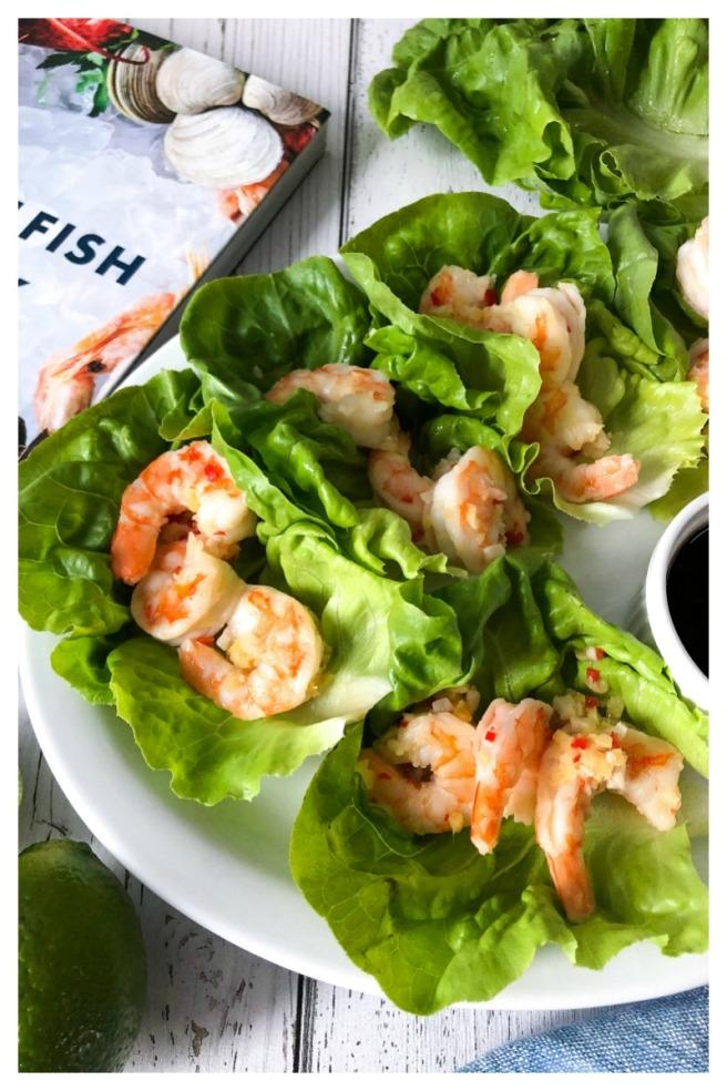 Chili lime side stripe shrimp lettuce wraps