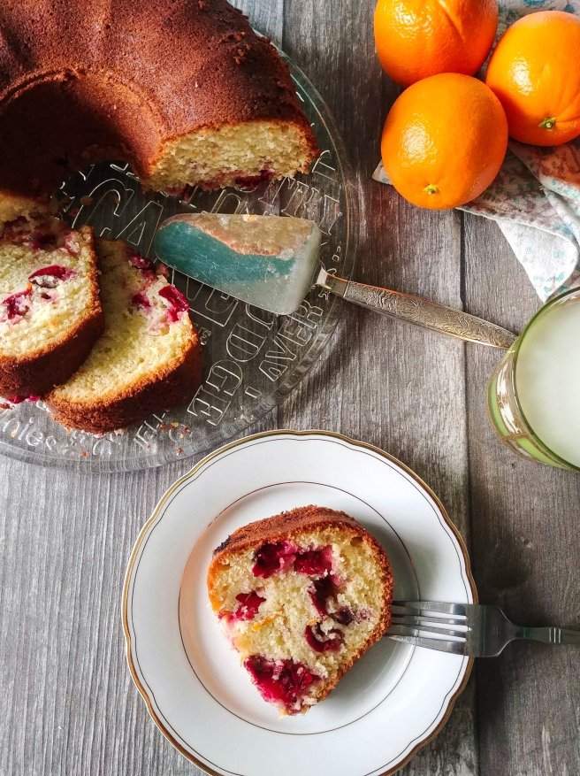 Orange and cranberry olive oil cake