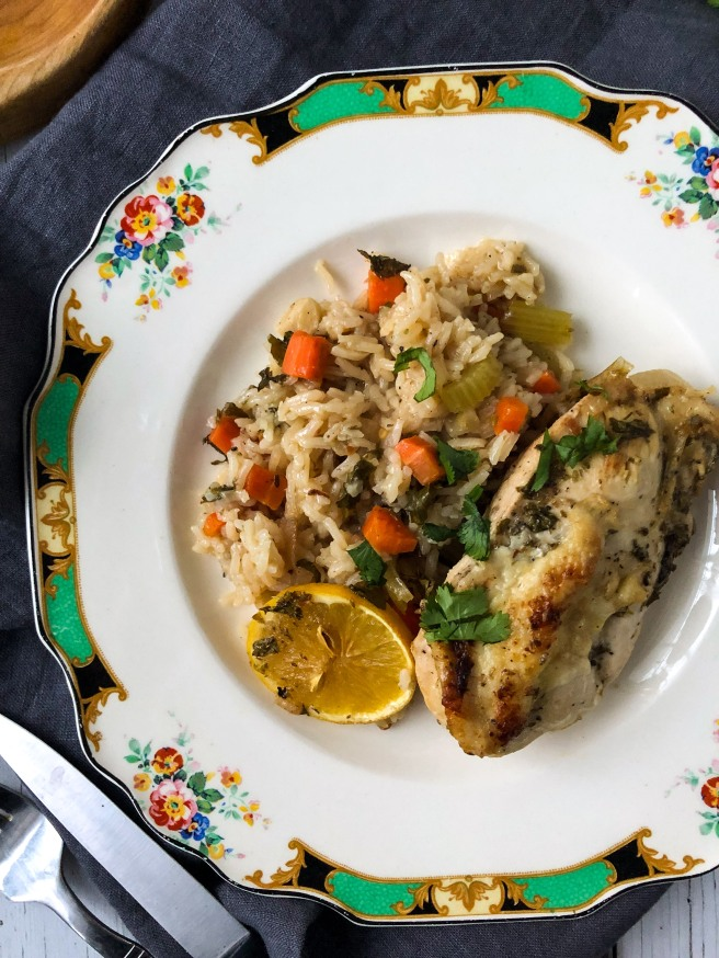 Oven-baked chicken and rice