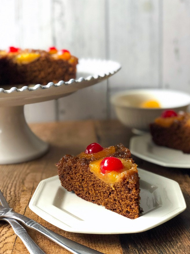 Upside down apricot and molasses cake