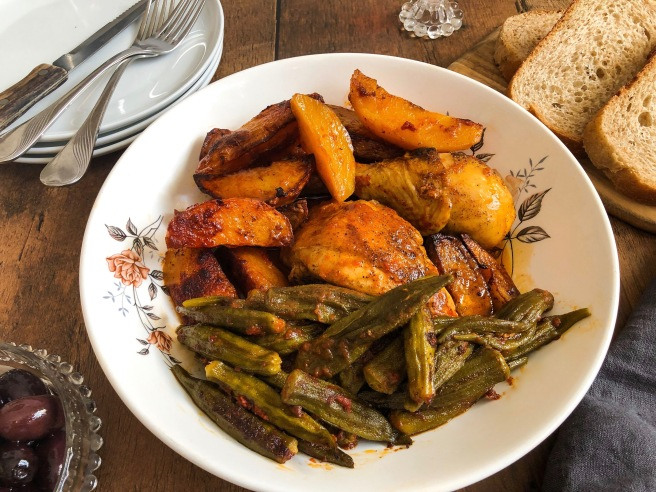 Stewed rooster with okra and potatoes